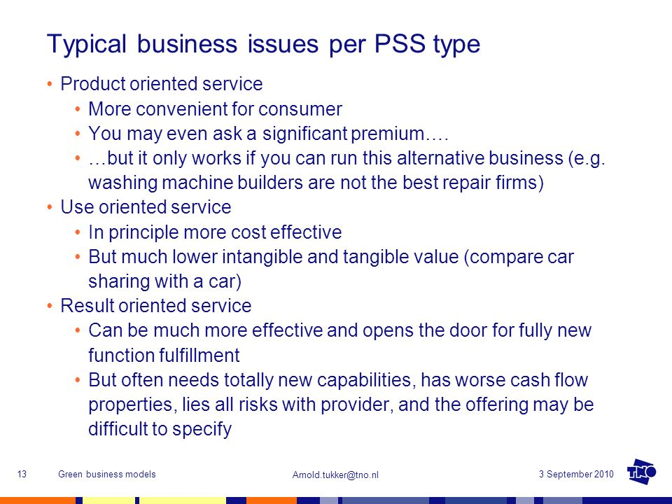 Typical business issues per PSS type