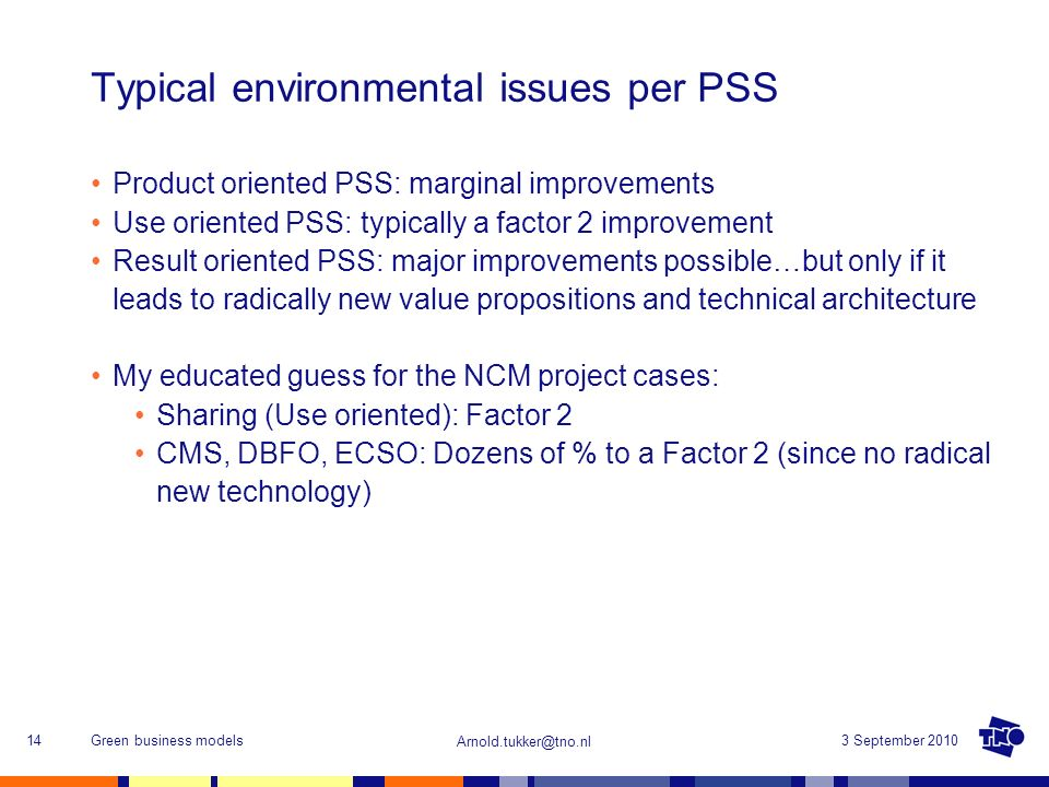 Typical environmental issues per PSS