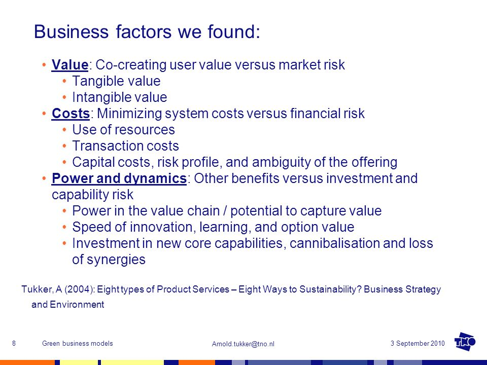 Business factors we found: