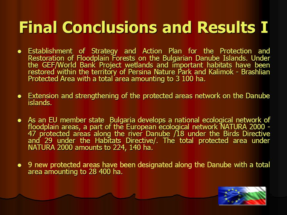 Final Conclusions and Results I