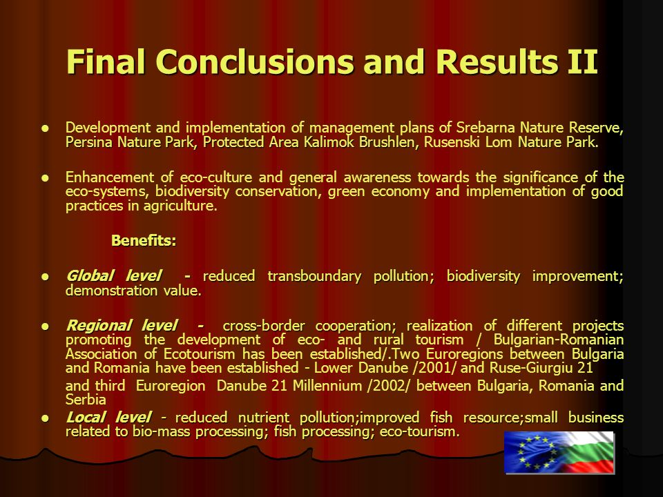 Final Conclusions and Results II