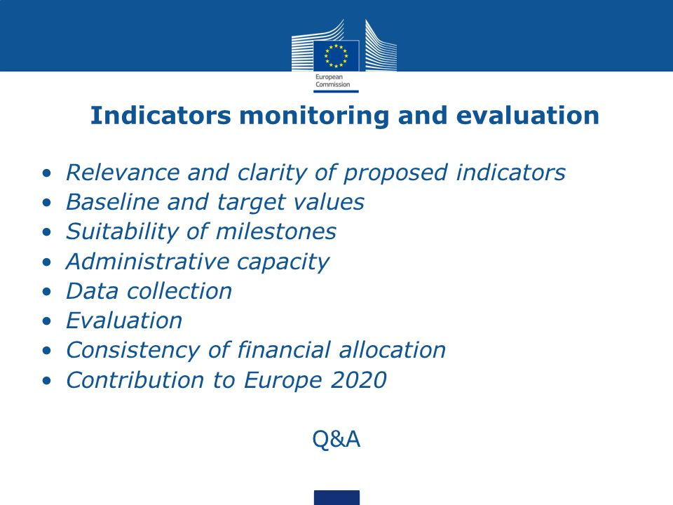 Indicators monitoring and evaluation