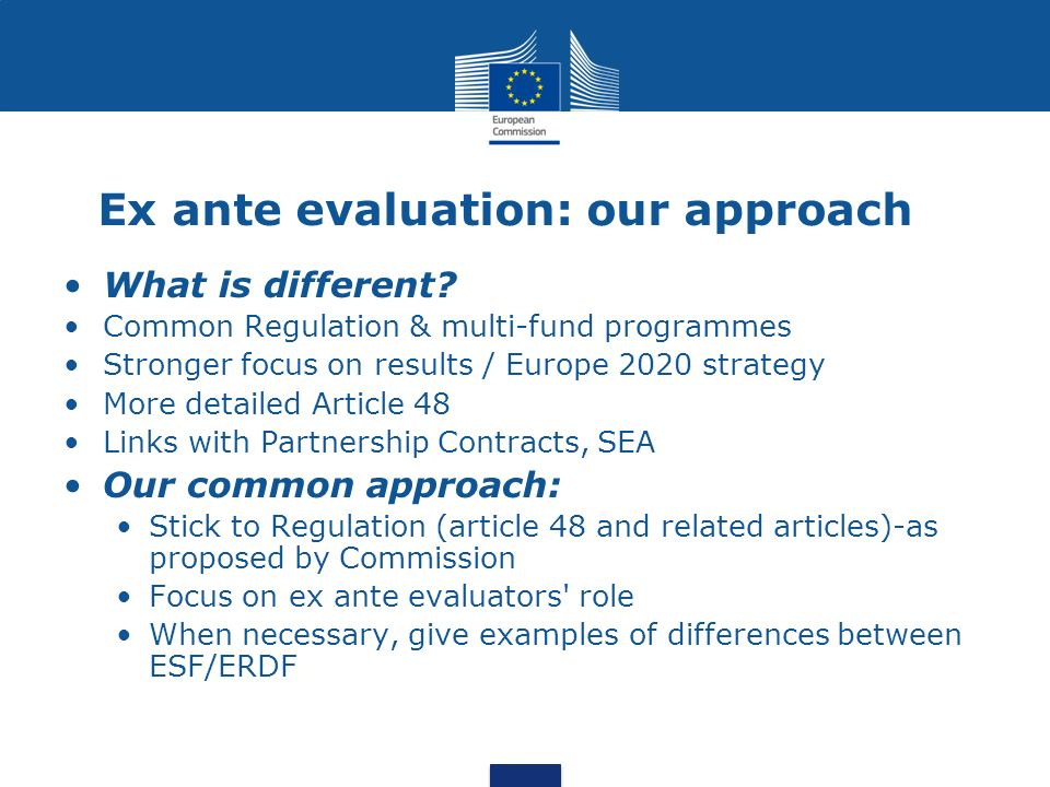 Ex ante evaluation: our approach