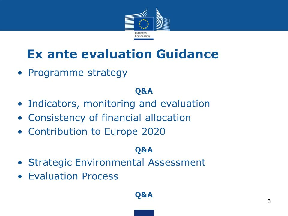 Ex ante evaluation Guidance