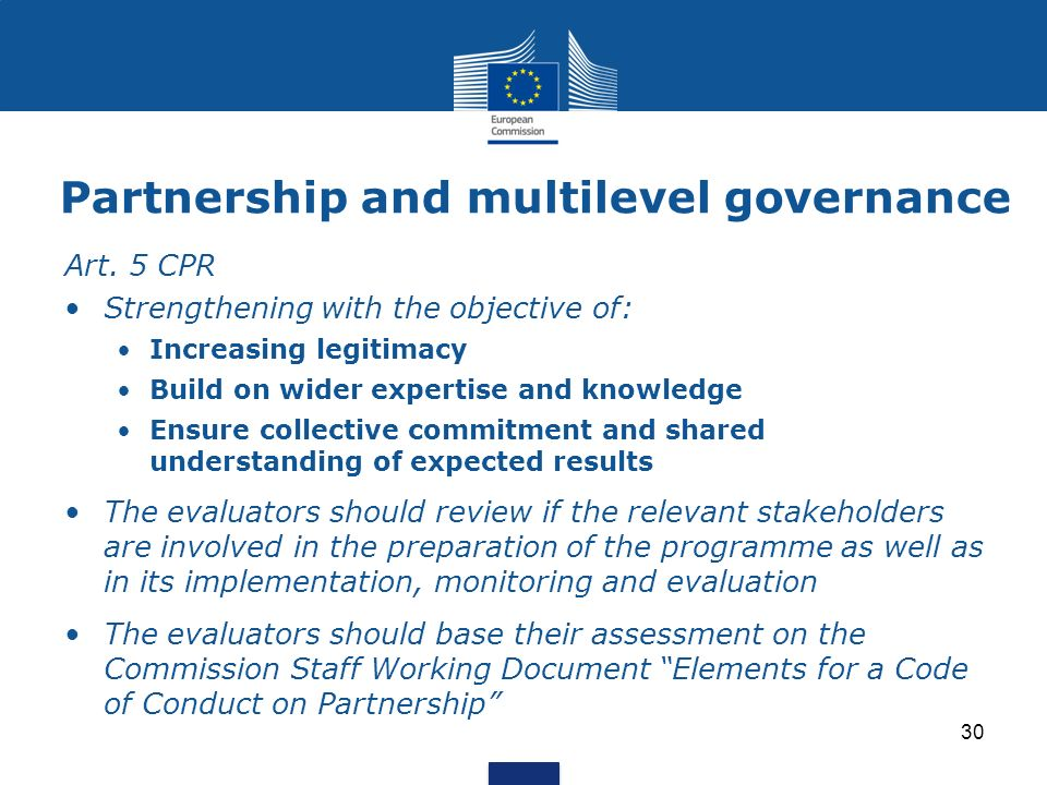 Partnership and multilevel governance