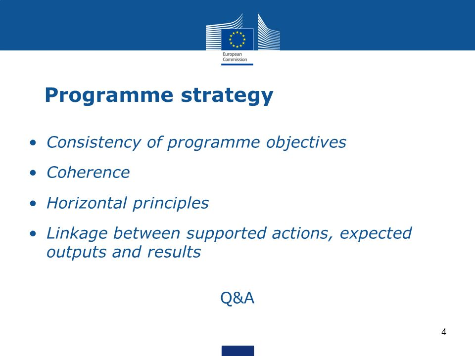 Programme strategy Consistency of programme objectives Coherence