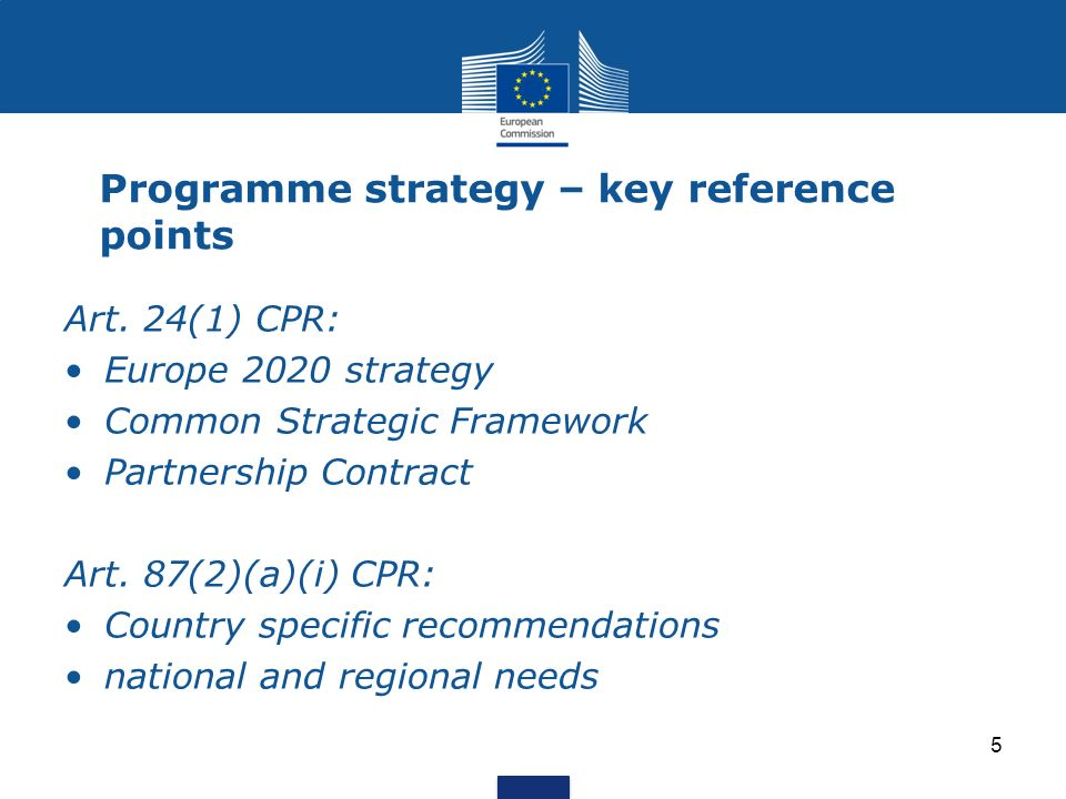 Programme strategy – key reference points