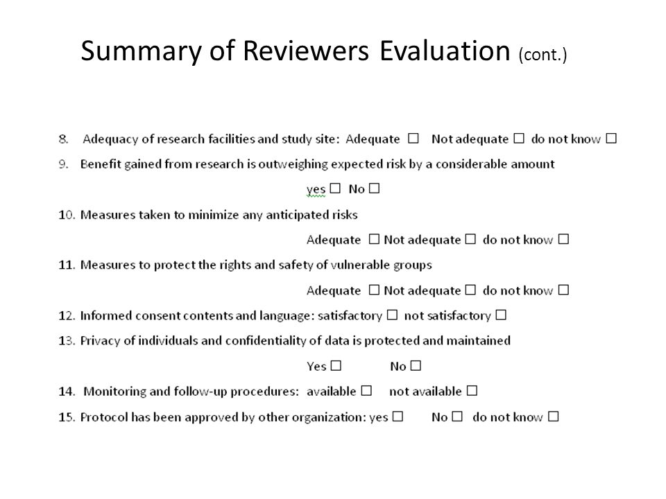 Summary of Reviewers Evaluation (cont.)