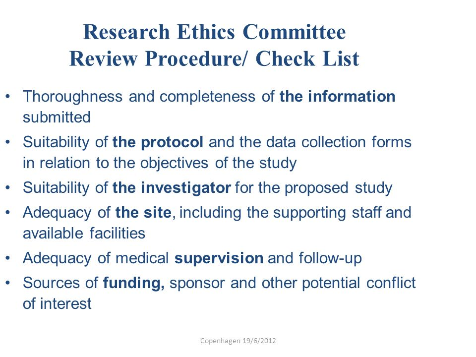 Research Ethics Committee Review Procedure/ Check List