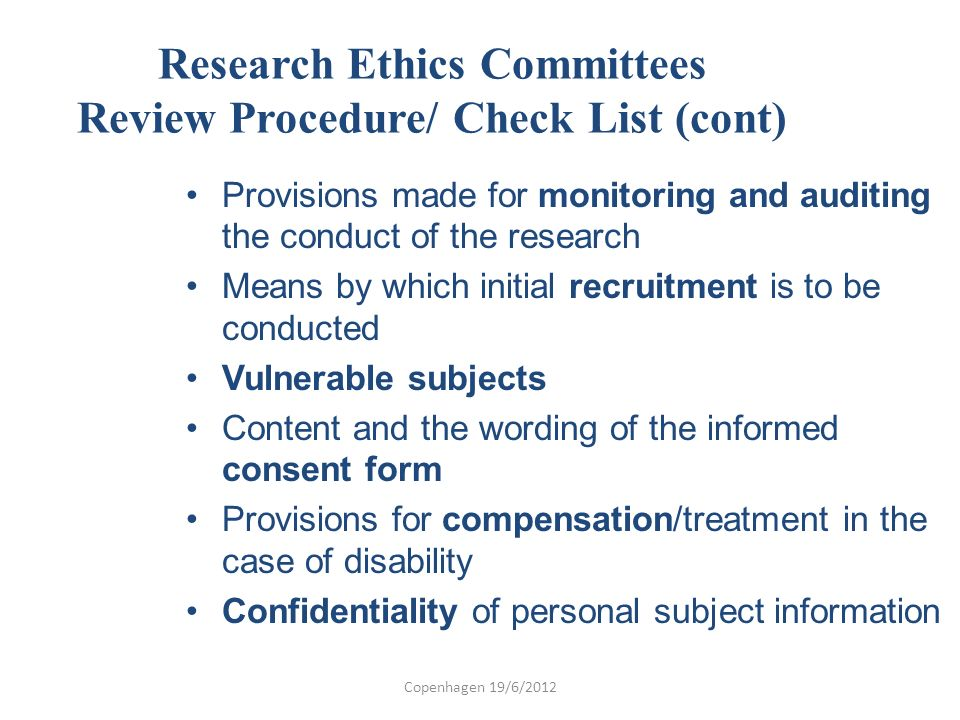 Research Ethics Committees Review Procedure/ Check List (cont)