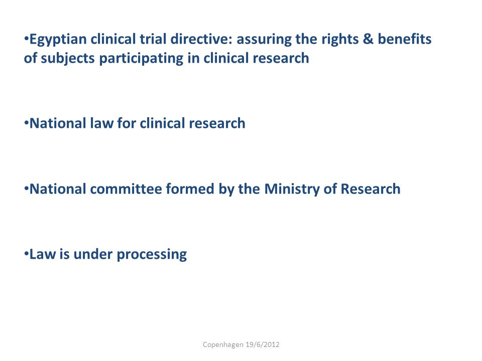 National law for clinical research