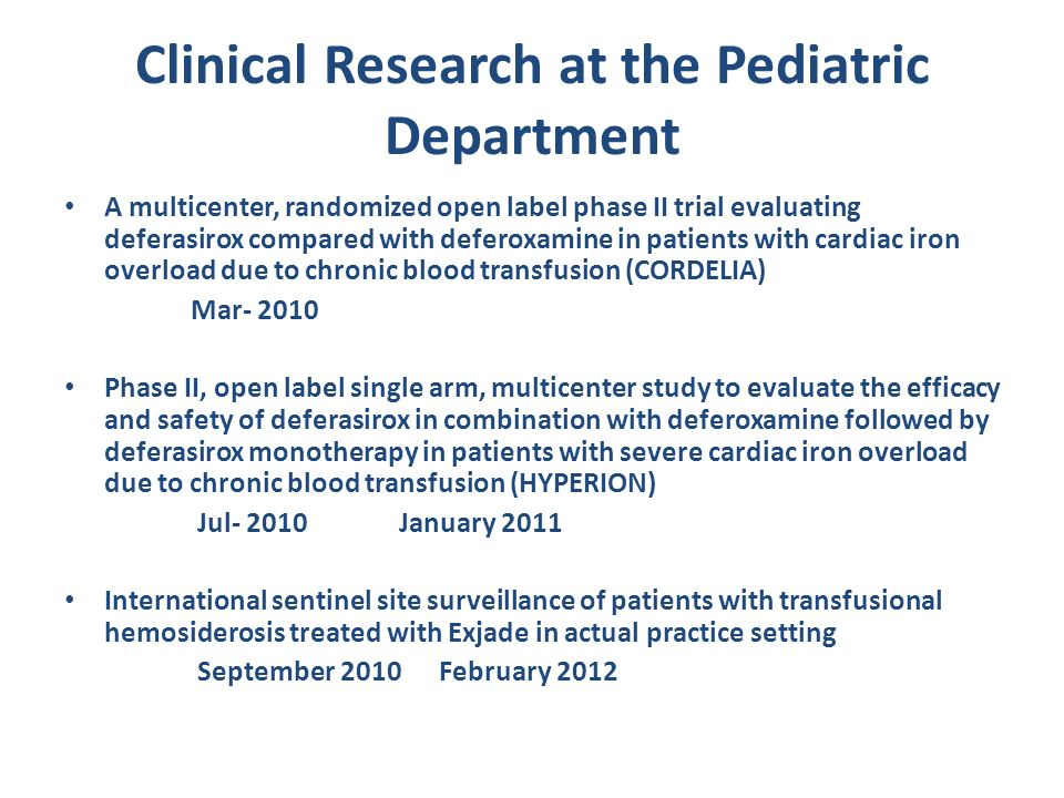 Clinical Research at the Pediatric Department