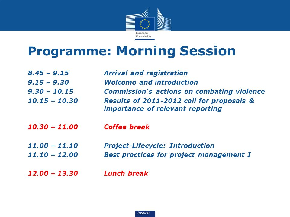 Programme: Morning Session