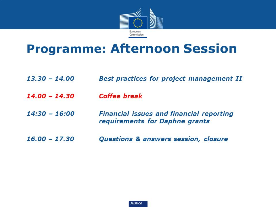Programme: Afternoon Session