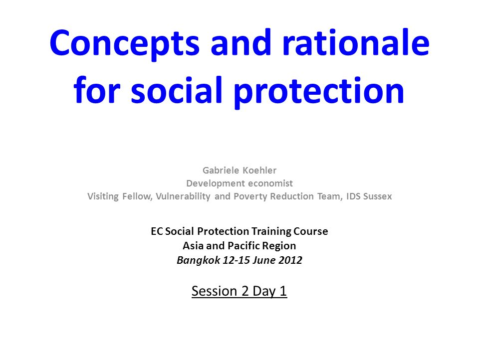 Concepts and rationale for social protection