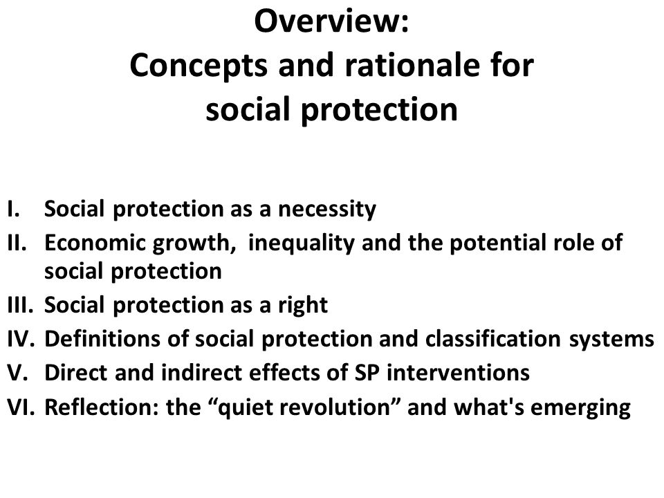 Overview: Concepts and rationale for social protection