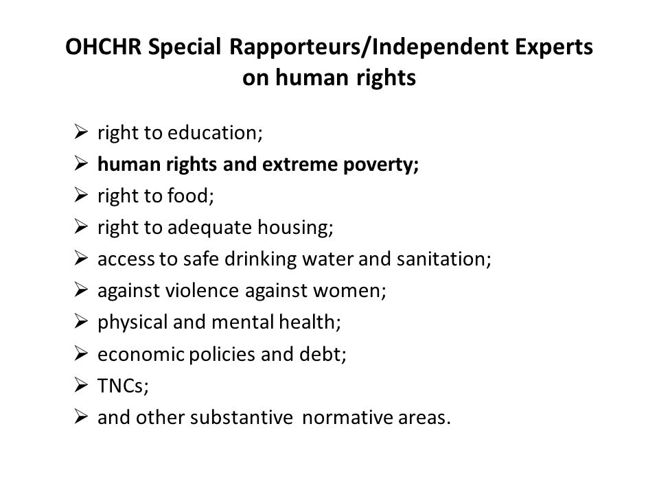 OHCHR Special Rapporteurs/Independent Experts on human rights