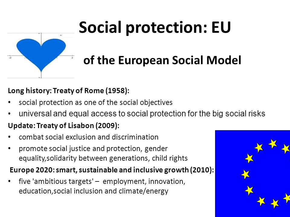 Social protection: EU Europea of the European Social Model