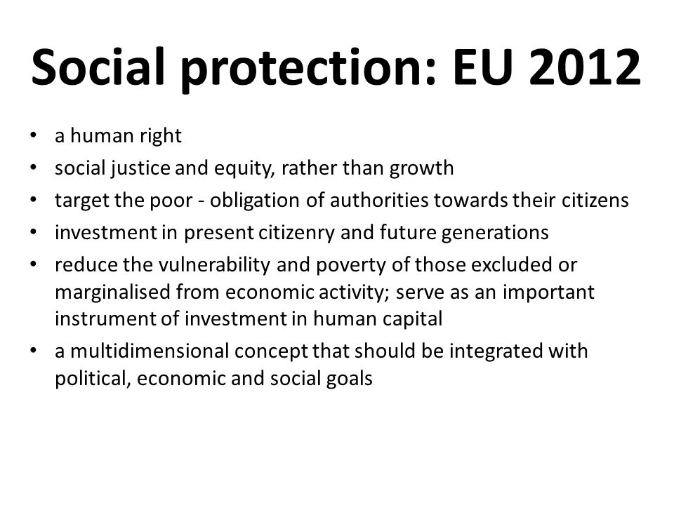 Social protection: EU 2012 a human right