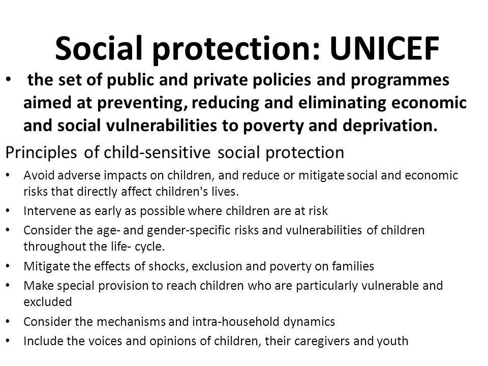 Social protection: UNICEF
