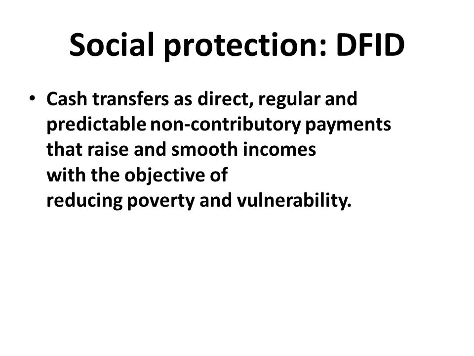 Social protection: DFID