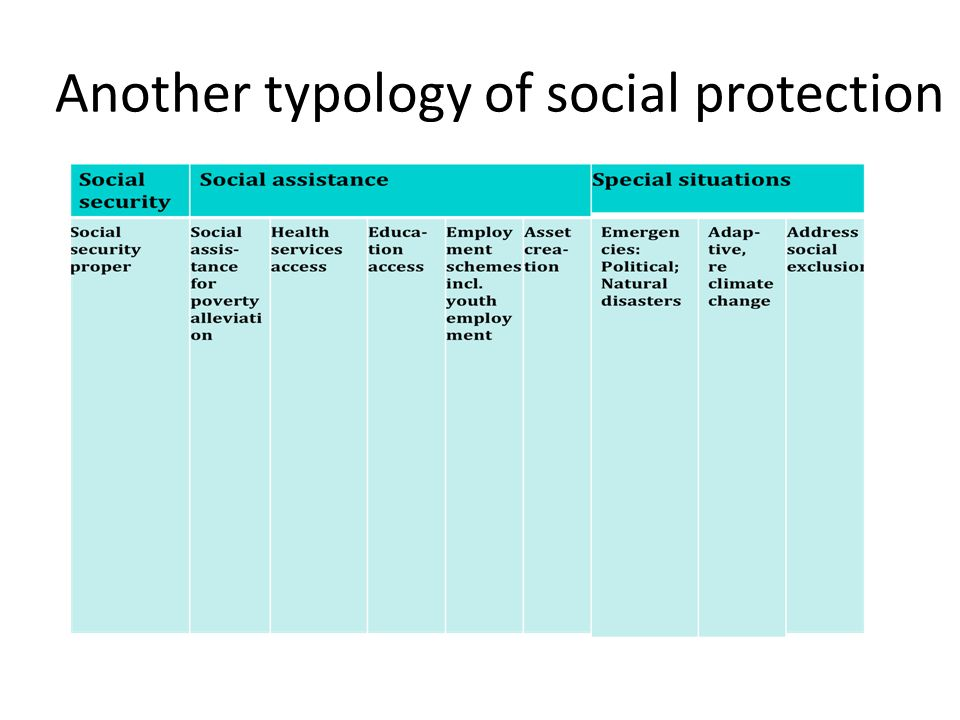 Another typology of social protection