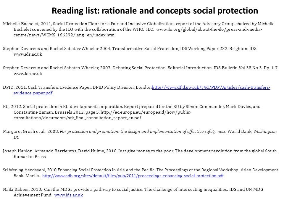 Reading list: rationale and concepts social protection