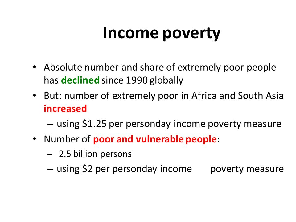 Income poverty Absolute number and share of extremely poor people has declined since 1990 globally.