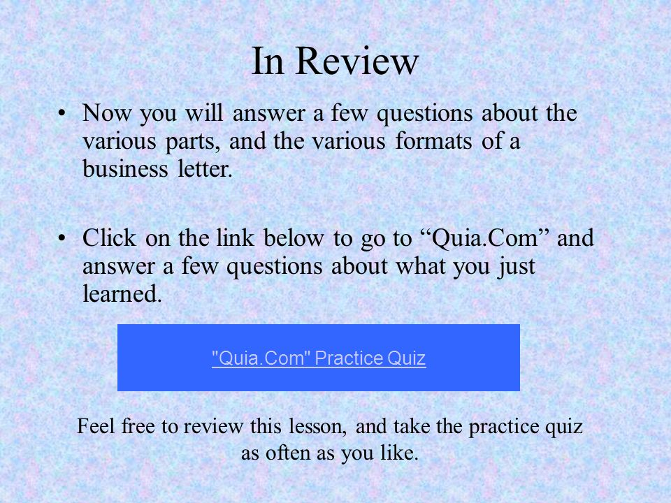 Ms word and business letters parts of a letter ppt download in review now you will answer a few questions about the various parts and the spiritdancerdesigns Choice Image