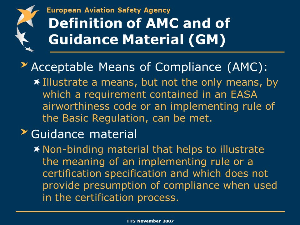 Definition of AMC and of Guidance Material (GM)