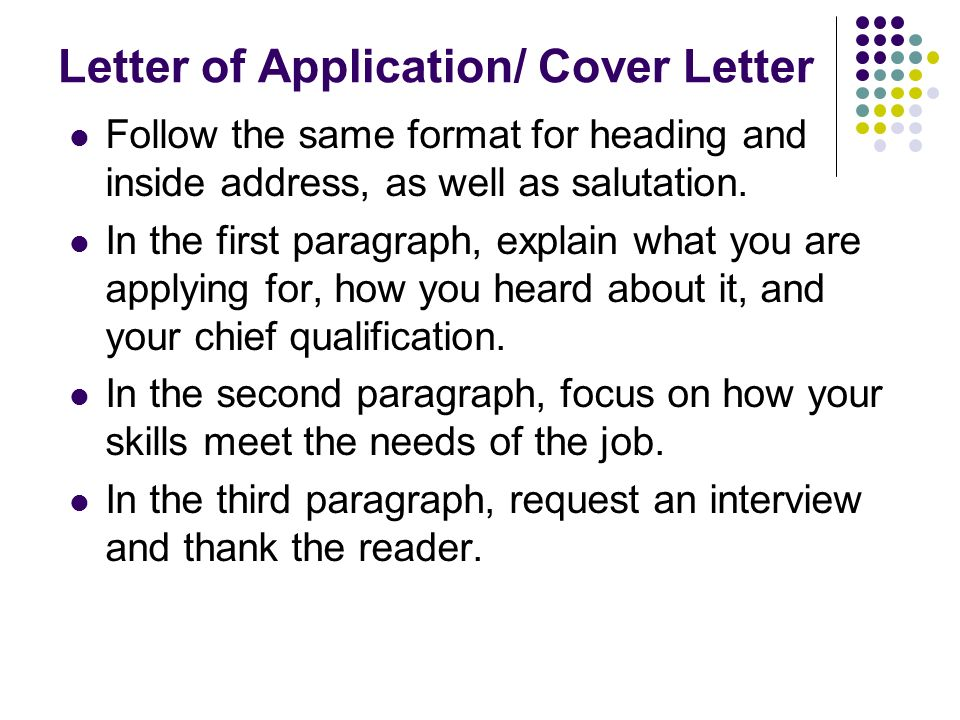 heading of a cover letter