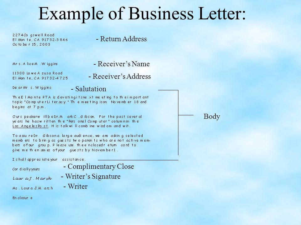 Letter Writing Return Address