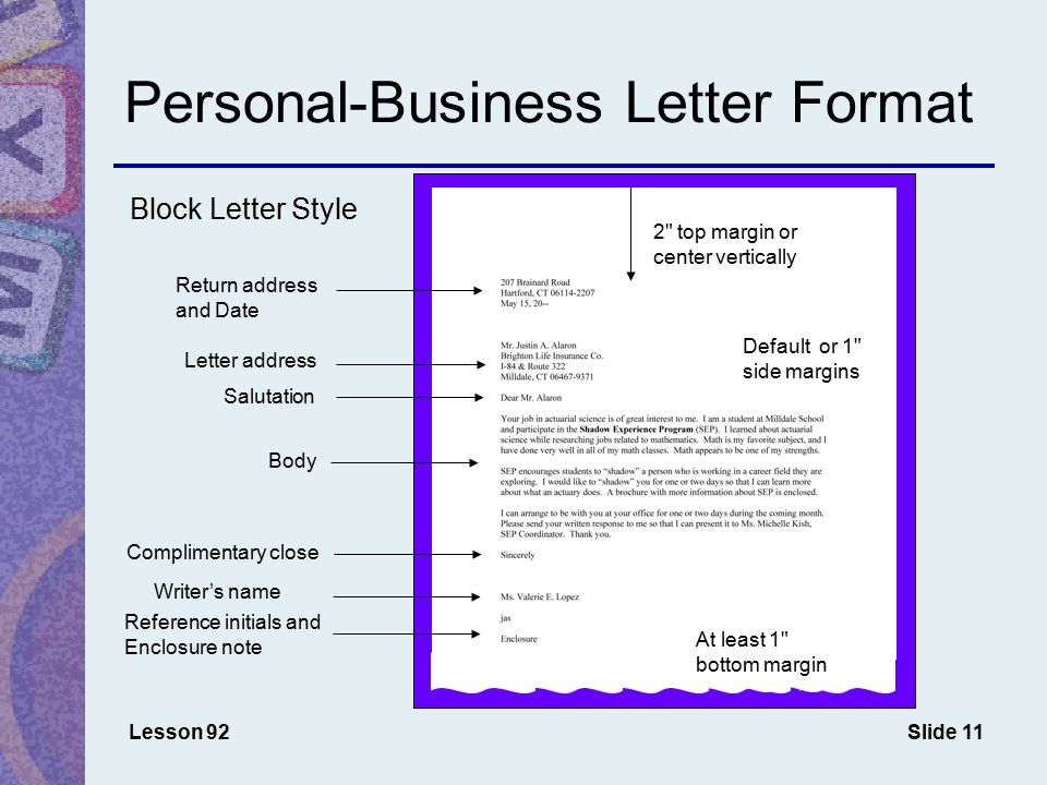 Chapter 11 memos s and letters ppt download personal business letter format spiritdancerdesigns Image collections