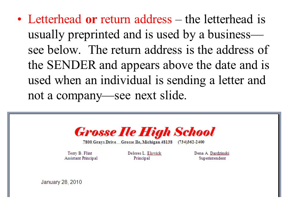 PARTS OF A BUSINESS LETTERS