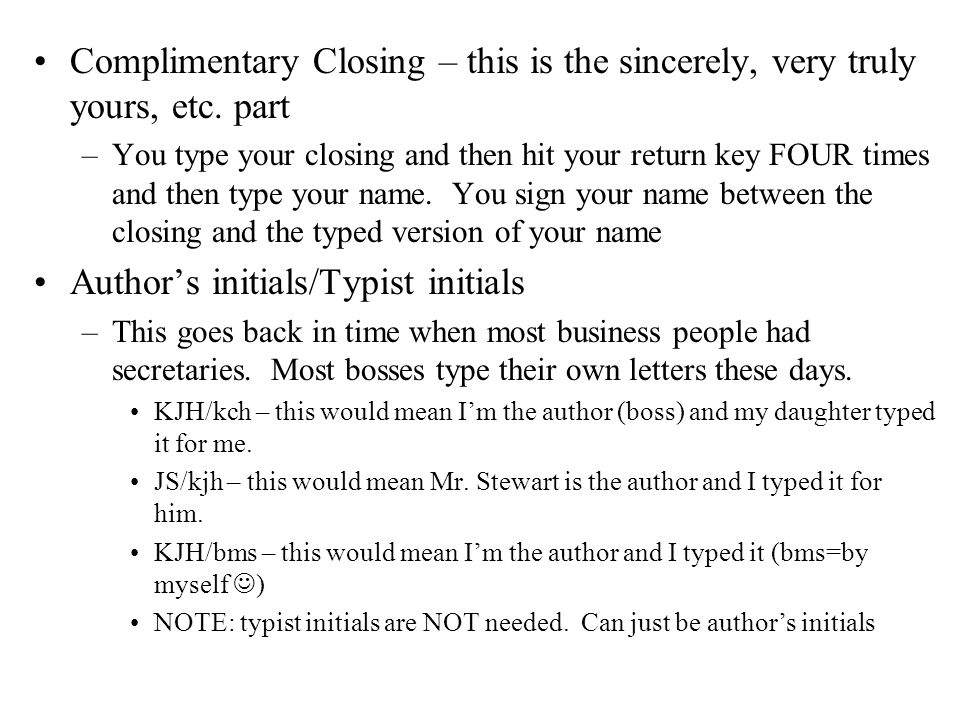 Parts of a business letters ppt video online download 6 authors initialstypist initials spiritdancerdesigns Gallery