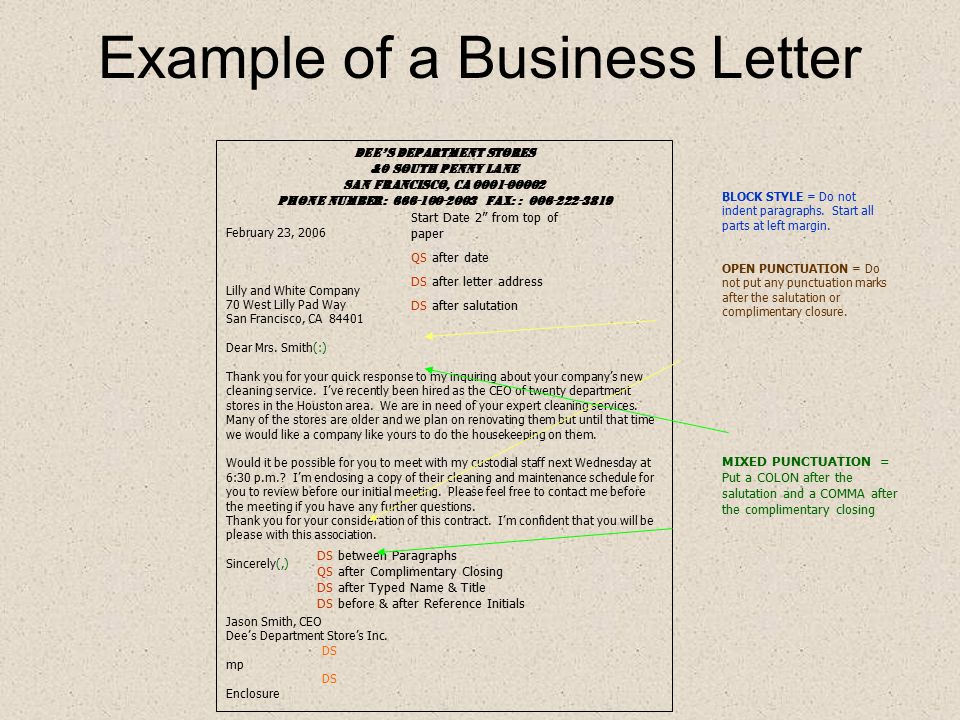 Business Letters Business Letters Are Sent From Within A