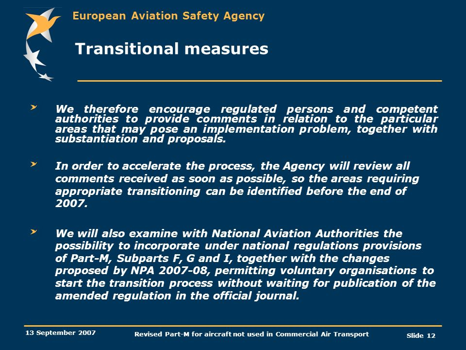Transitional measures