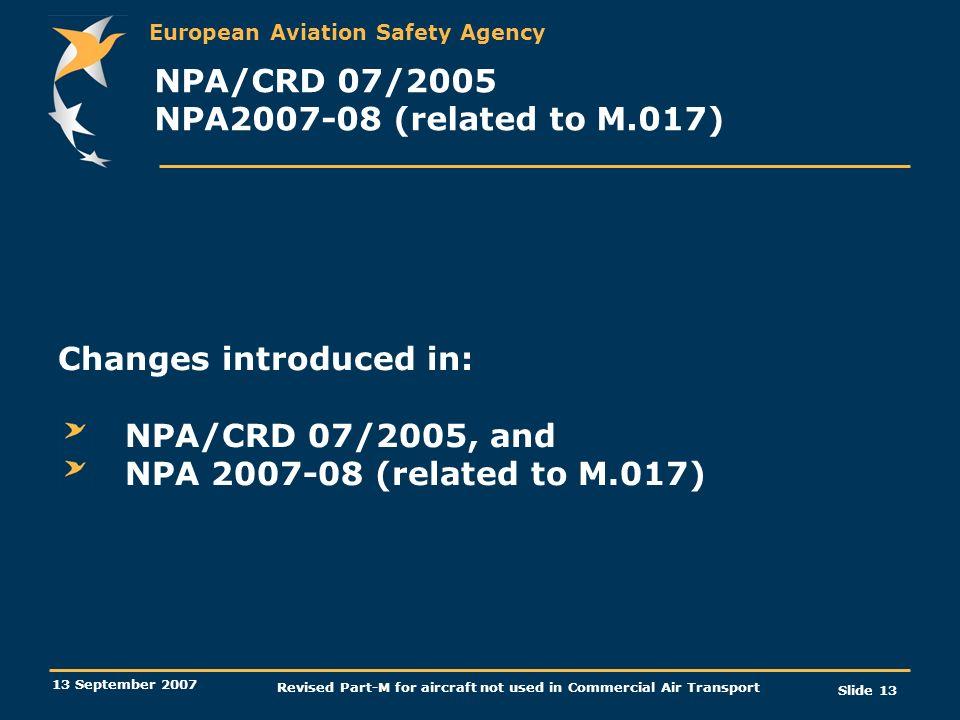 NPA/CRD 07/2005 NPA2007-08 (related to M.017)