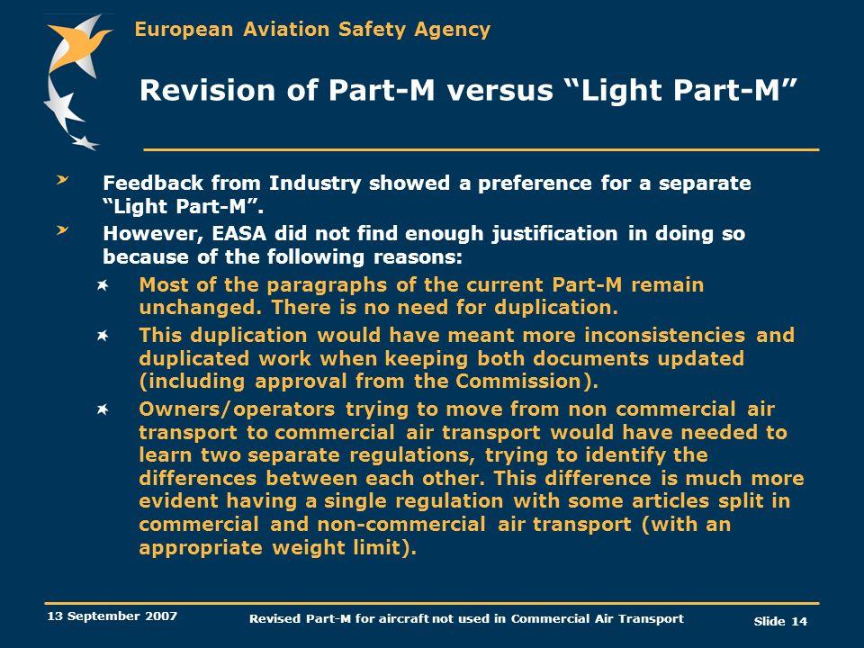 Revision of Part-M versus Light Part-M