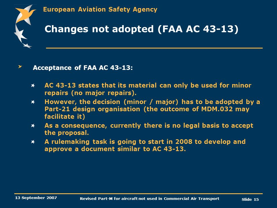 Changes not adopted (FAA AC 43-13)