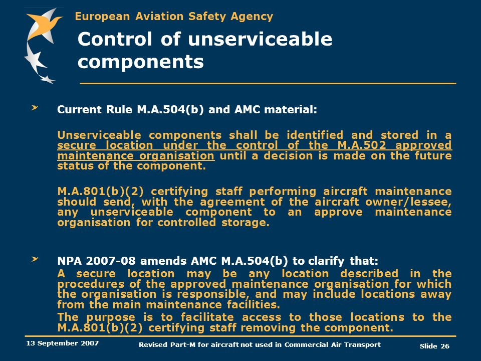 Control of unserviceable components