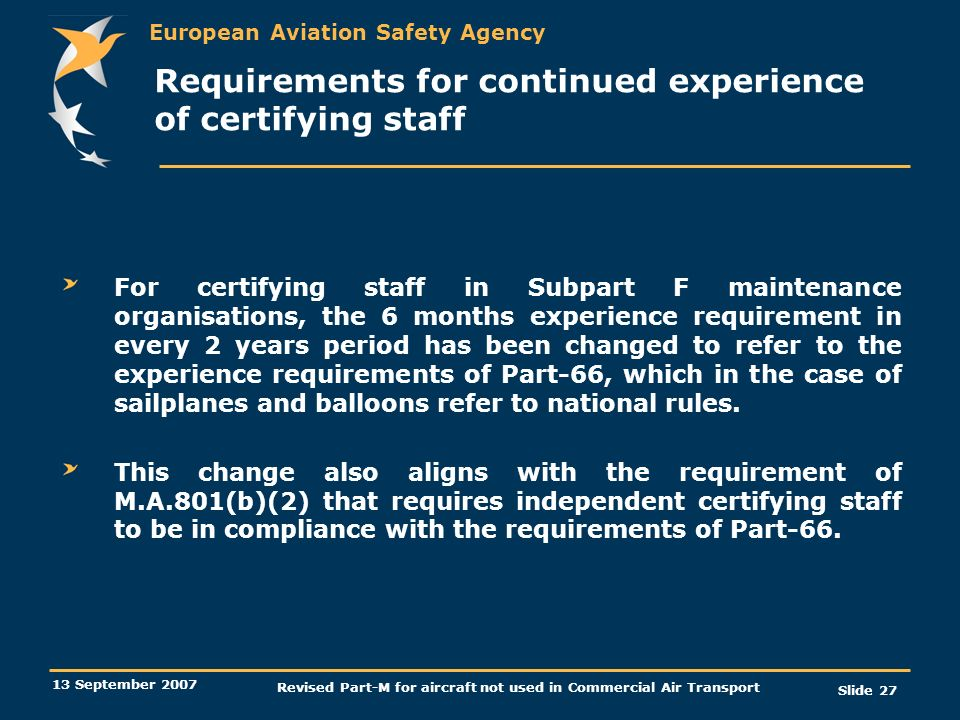 Requirements for continued experience of certifying staff