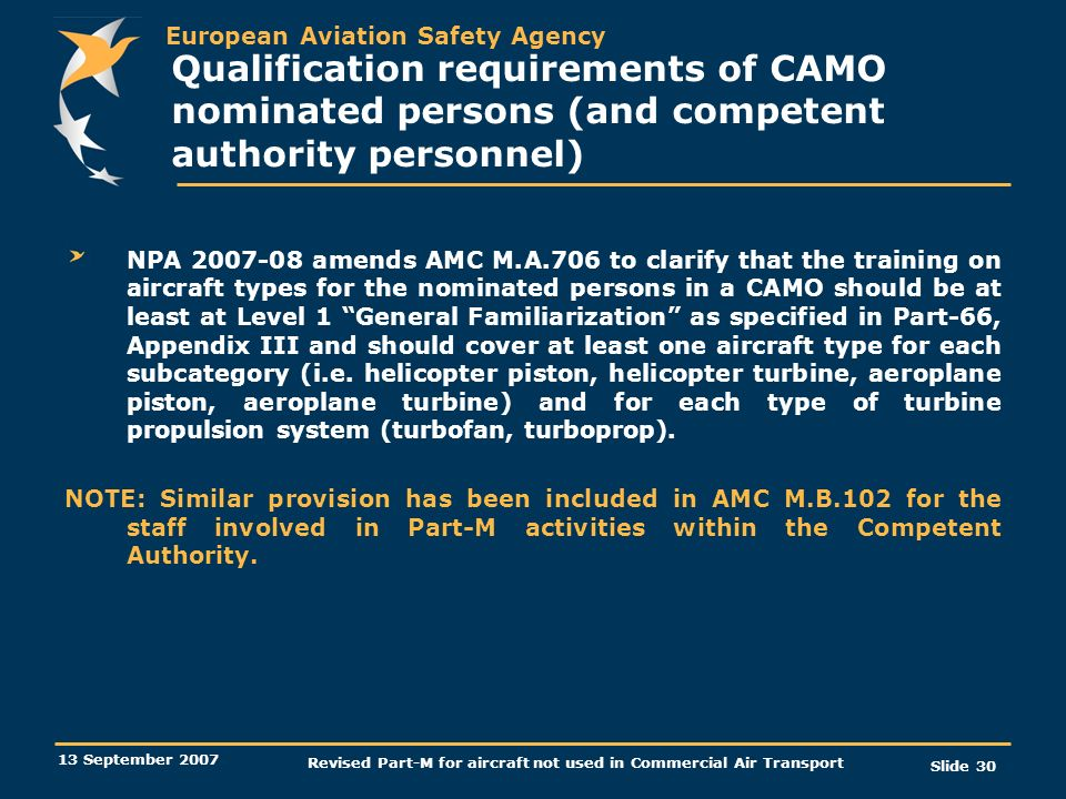 Revised Part-M for aircraft not used in Commercial Air Transport