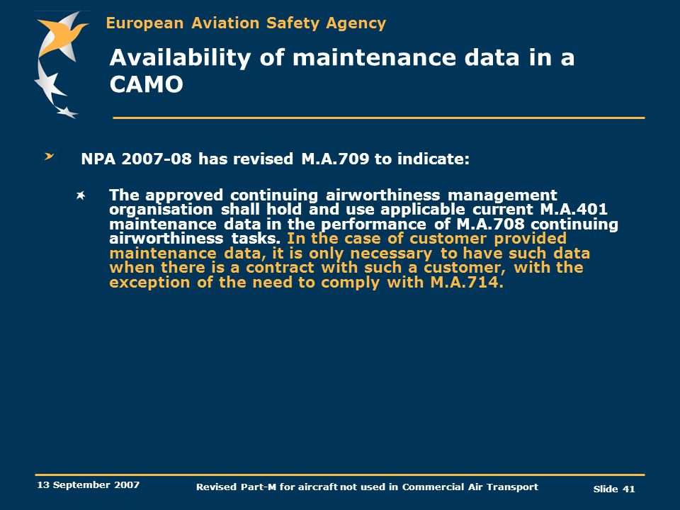 Availability of maintenance data in a CAMO