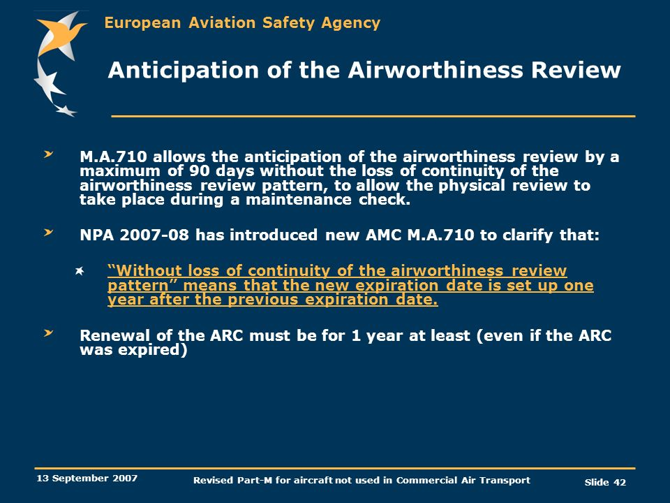 Anticipation of the Airworthiness Review