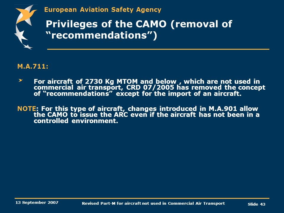 Privileges of the CAMO (removal of recommendations )