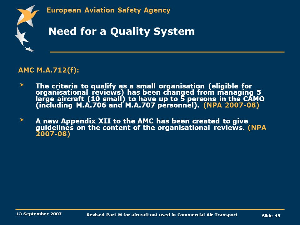 Need for a Quality System