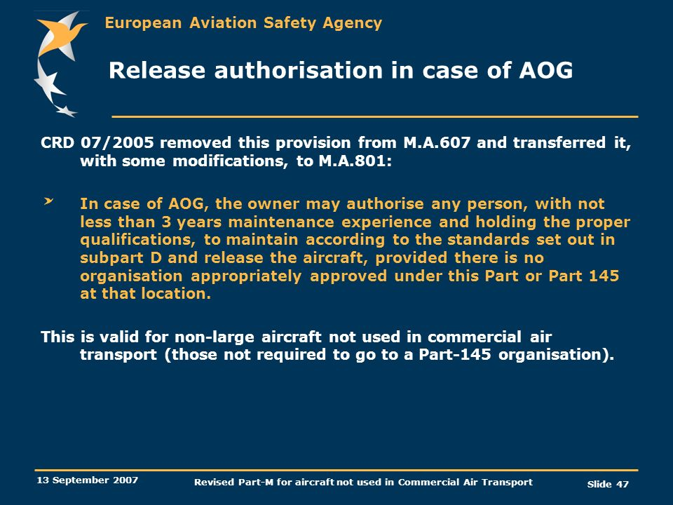 Release authorisation in case of AOG