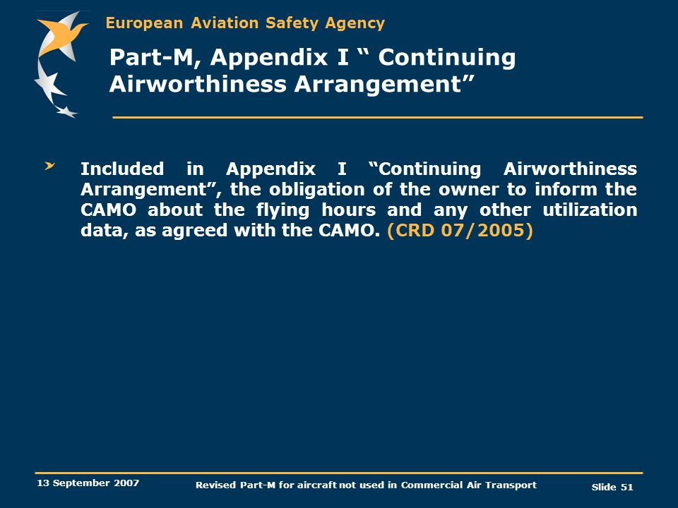 Part-M, Appendix I Continuing Airworthiness Arrangement