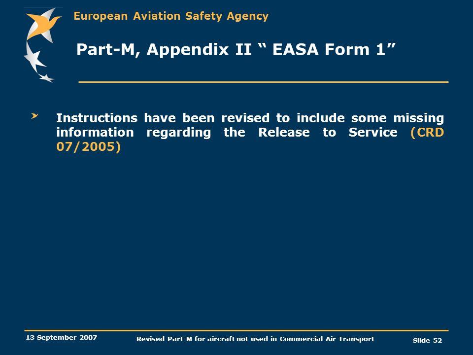 Part-M, Appendix II EASA Form 1